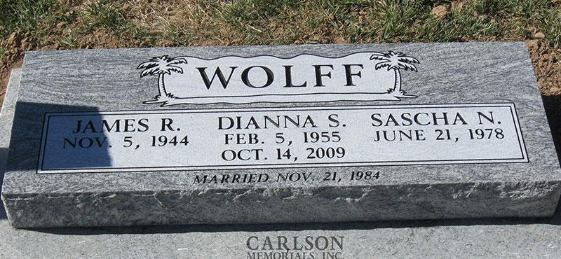 BV010: Silver Cloud Stone Custom Designed Bevel Headstones for the Wolff family