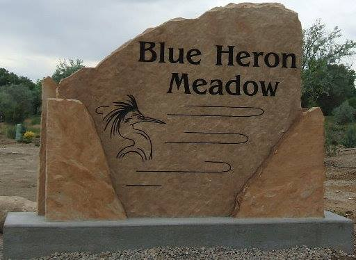 Custom engraved stone signs for Blue Heron Meadow in Grand Junction Colorado
