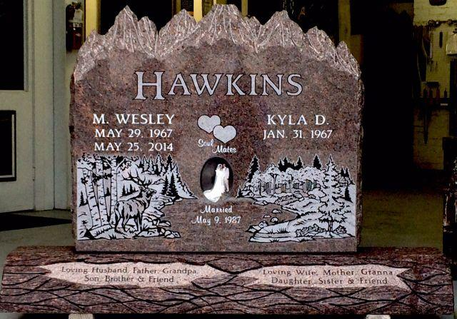 custom engraved headstone for the Hawkins family