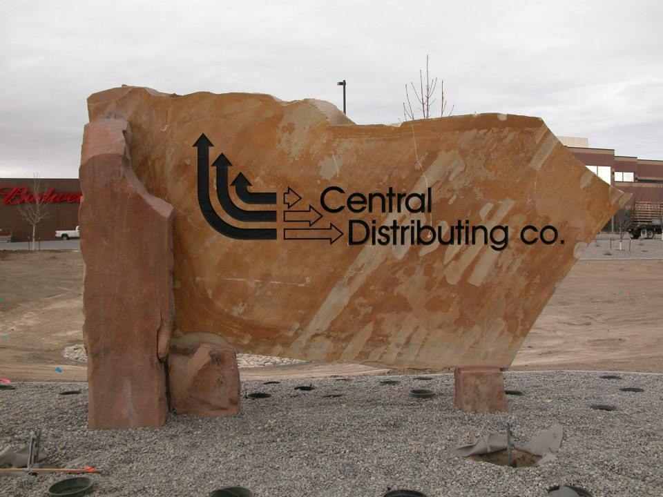 Custom designed stone signs for Central Distributing Company