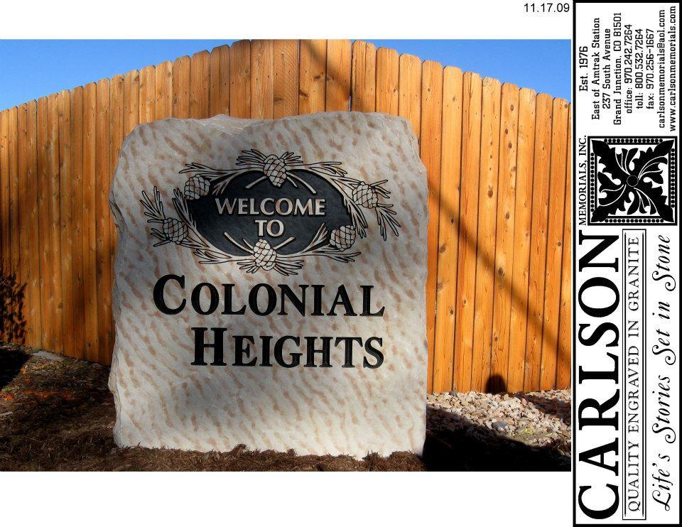custom engraved stone signs for Colonial Heights in Colorado