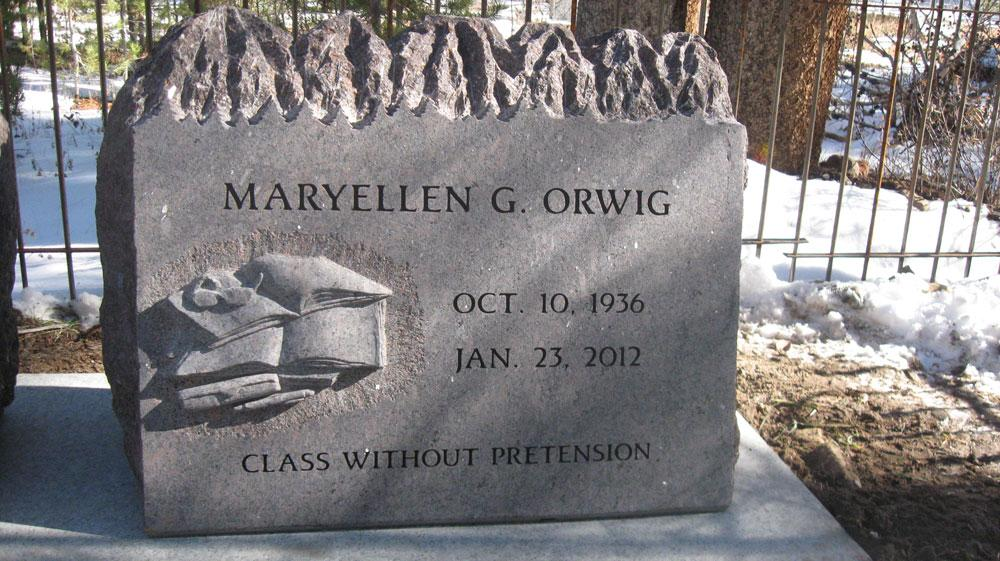 custom engraved headstone for the Orwig family