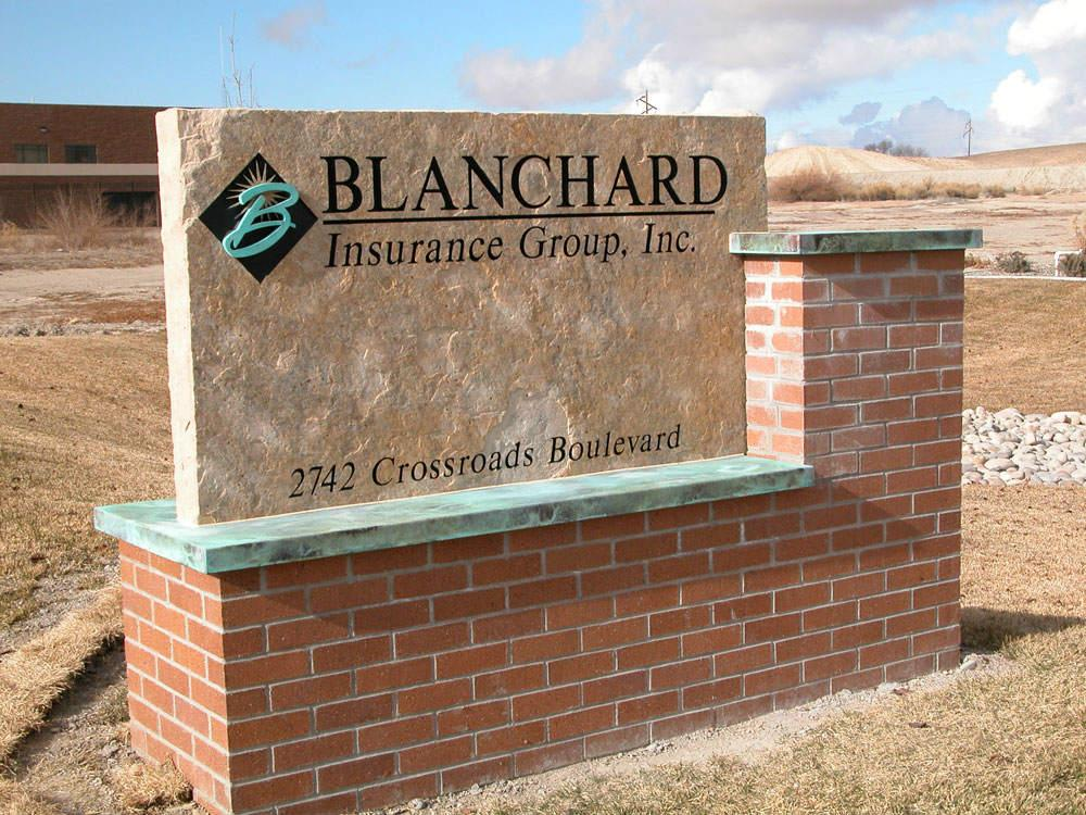 Custom stone sign for Blanchard Insurance Groups in Colorado