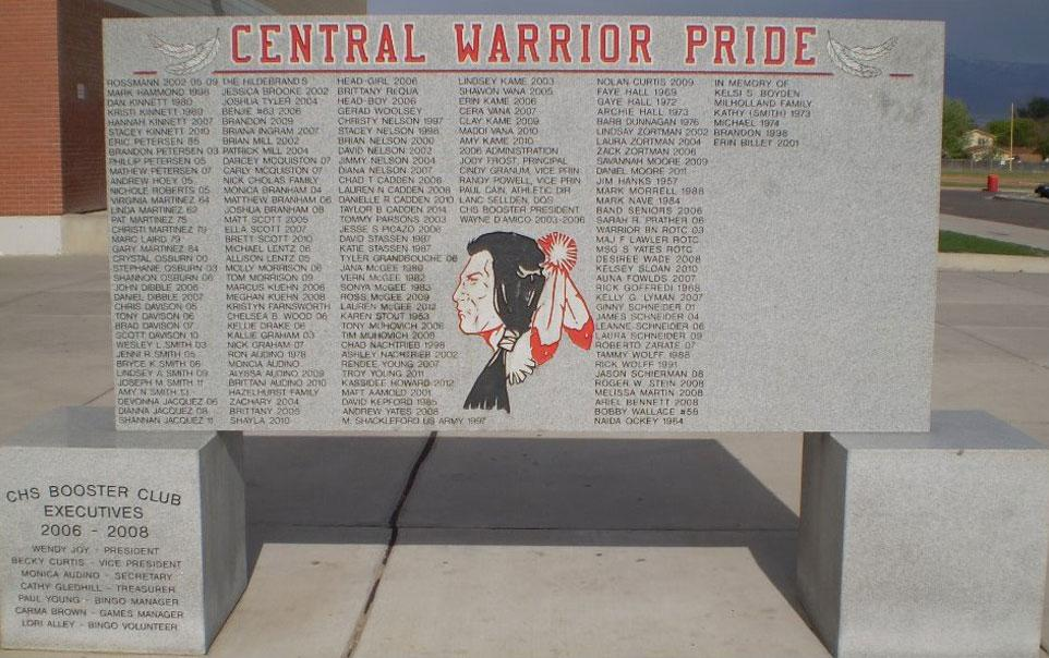 Custom Stone sign for Central High School in Grand Junction Colorado