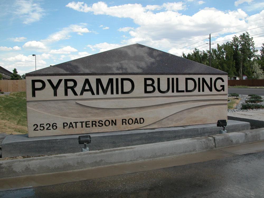 Custom stone sign for Pyramid Building in Grand Junction