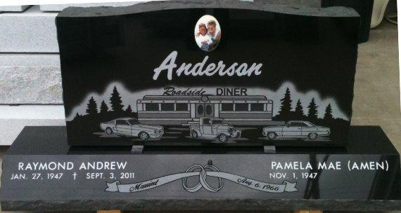 custom engraved headstone for the Anderson family