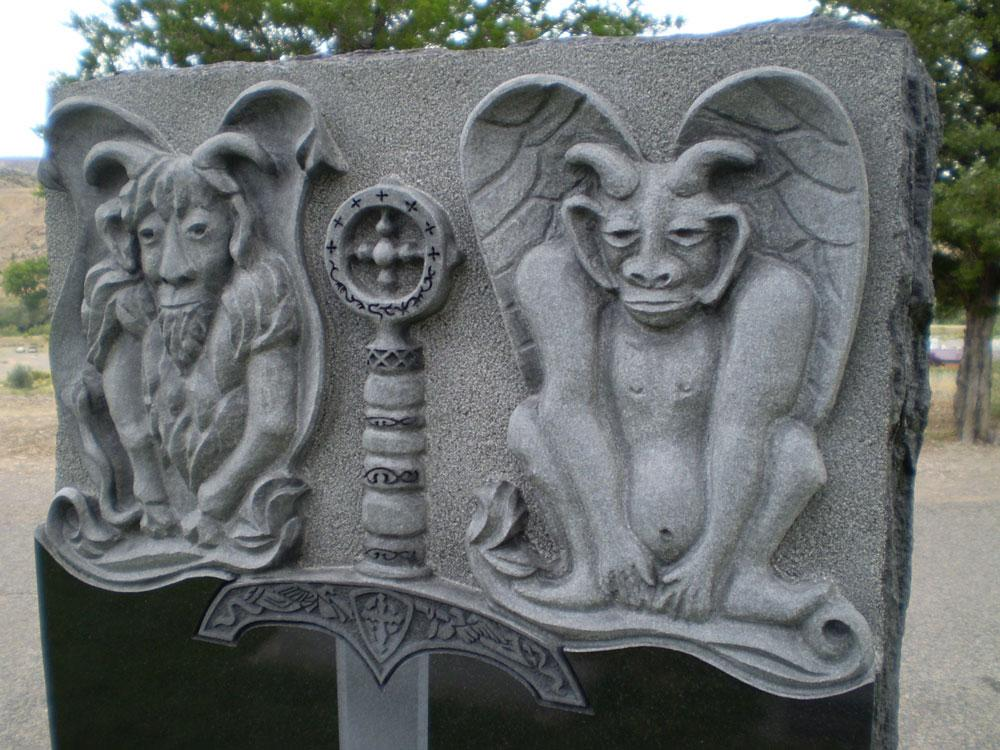 custom engraved gargoyles in stone