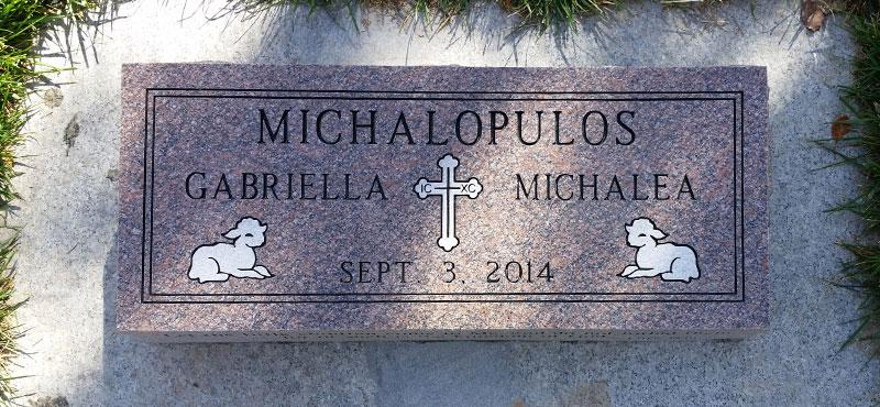 BV164: Canyon Rose Stone Custom Designed Bevel Headstones for the Michalopulos family