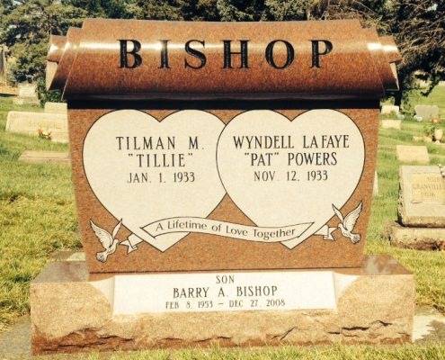 custom designed headstone for the Bishop family