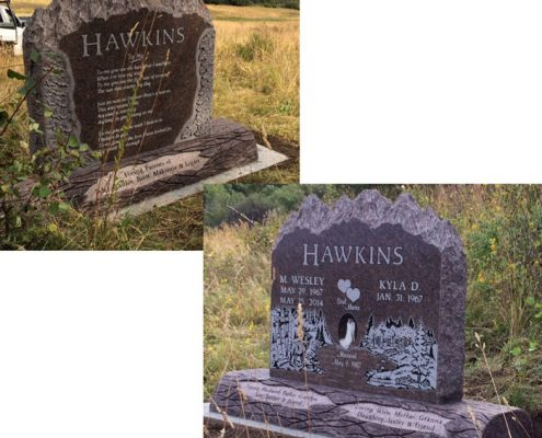 custom designed headstone for the Hawkins family