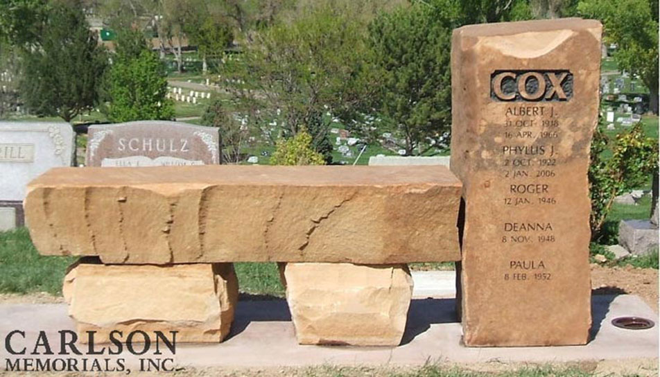 B002: Natural Sandstone custom designed memorial bench for the Cox family