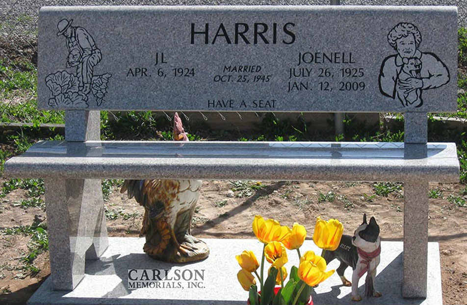 B026: Champagne Custom Designed Stone Bench for the Harris Family