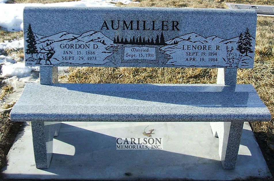 B028: Pacific Gray Custom Designed Stone Bench for the Aumiller Family