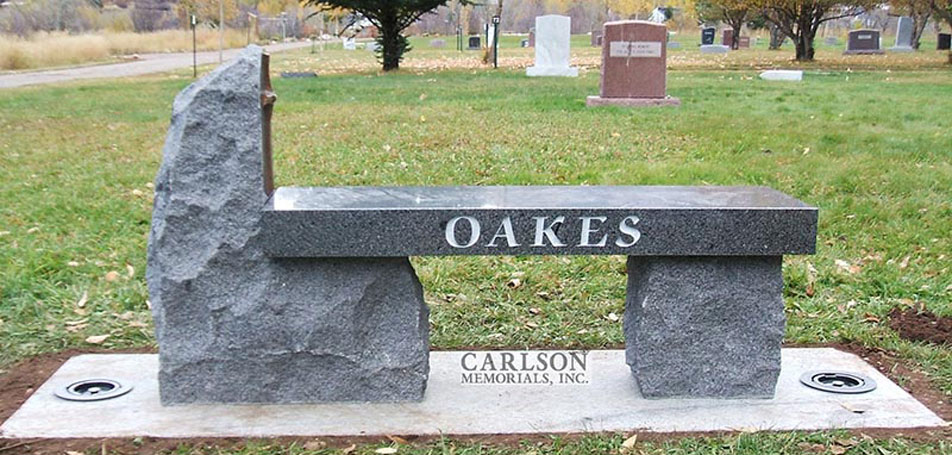 B034: St. Cloud Gray Custom Designed Stone Bench for the Oakes Family