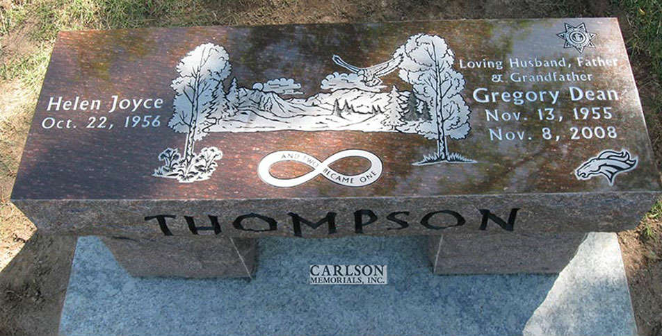 B037: Cats Eye Brown Custom Designed Stone Bench for the Thompson Family