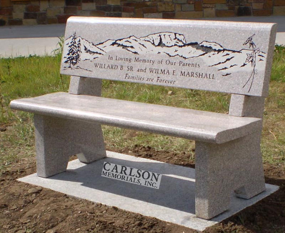 B042: Champagne Custom Designed Stone Bench for the Marshall Family