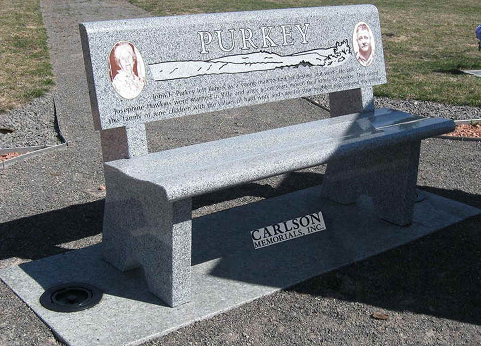 B044: Pacific Gray Custom Designed Stone Bench for the Purkey Family