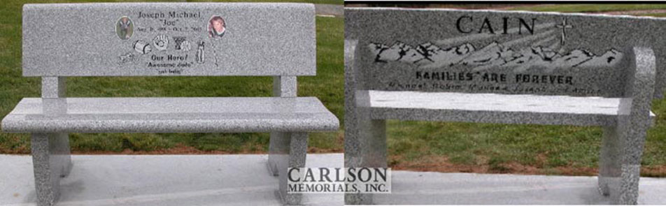 B051: Pacific Gray stone bench custom designed for the Cain family
