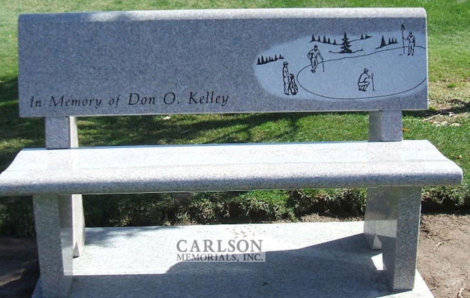 B061: Champagne custom designed stone bench for the Kelley family