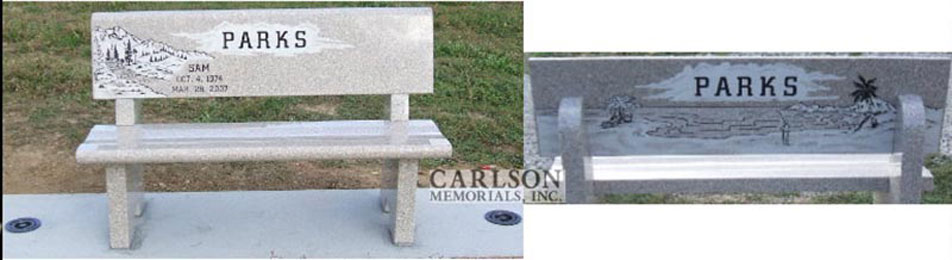 B062: Champagne custom designed stone bench for the Parks family
