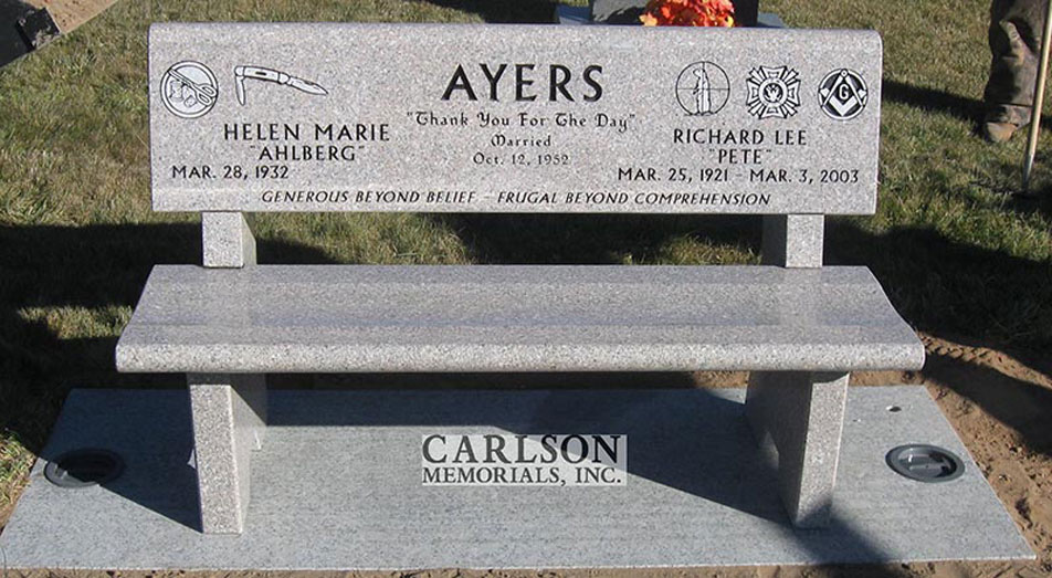 B076: Champagne custom designed stone bench for the Ayers family