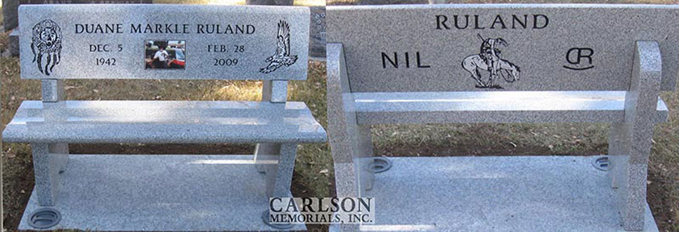 B078: Dark Pacific Gray custom designed stone bench for the Ruland family