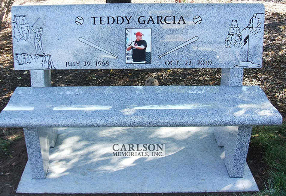 B079: Dark Pacific Gray custom designed stone bench for the Garcia family