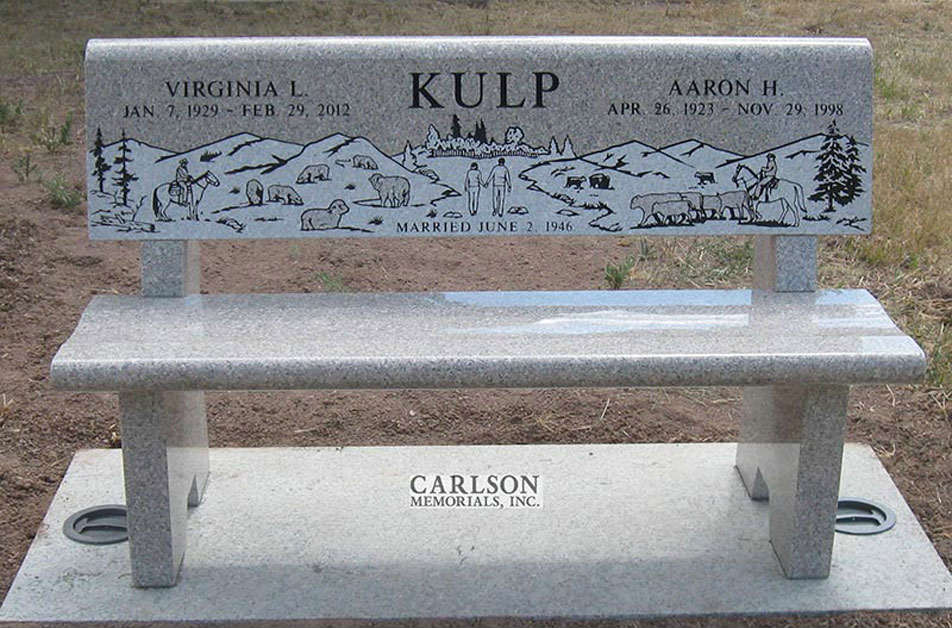 B083: Champagne custom designed stone bench for the Kulp family