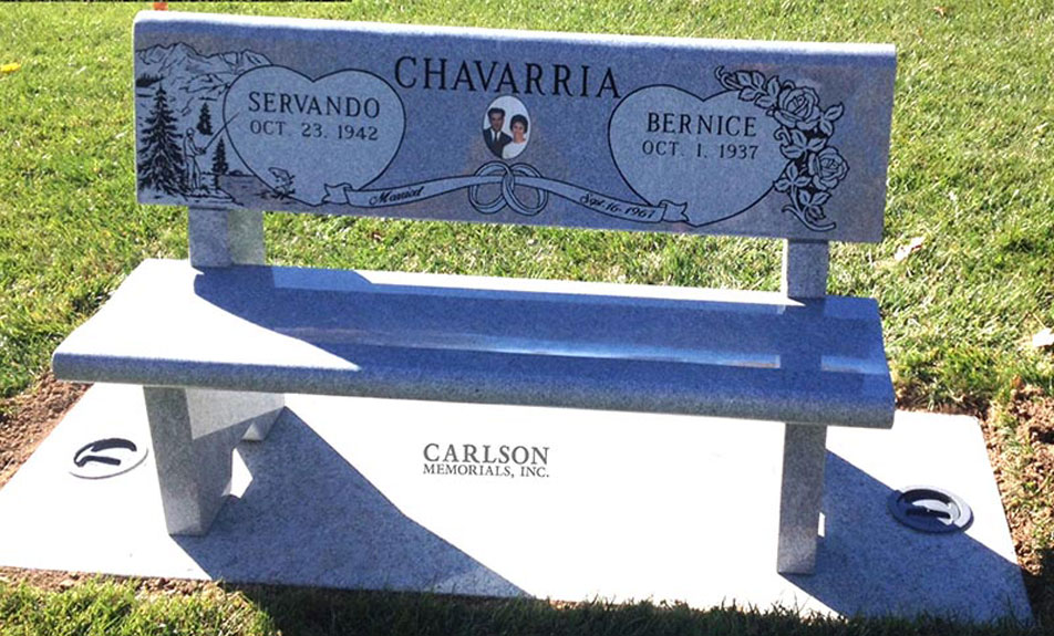 B089: Pacific Gray custom designed stone bench for the Chavarria Family