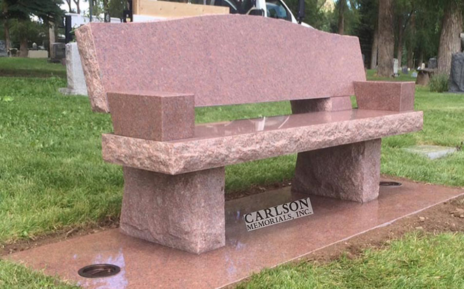 B096: Mountain Red stone bench