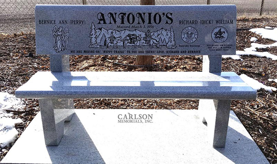 B112: Pacific Gray custom designed stone bench for the Antonios family