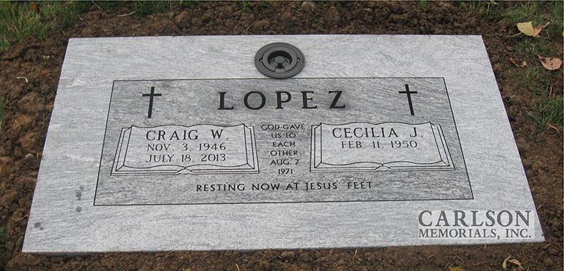GM178: Silver Cloud custom designed flat marker for the Lopez family