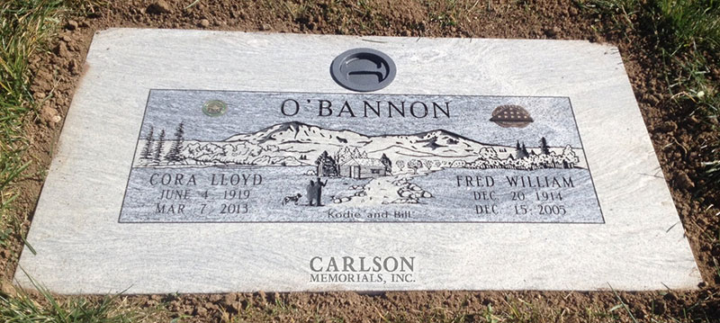 GM229: Silver Cloud custom designed flat marker for the O'Bannon family
