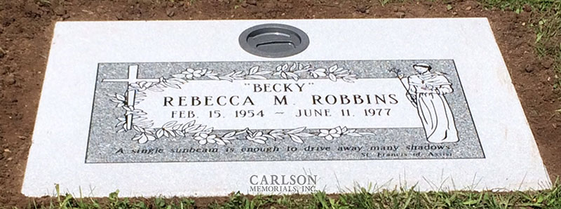 GM237: Barre Gray custom designed flat marker for the Robbins family