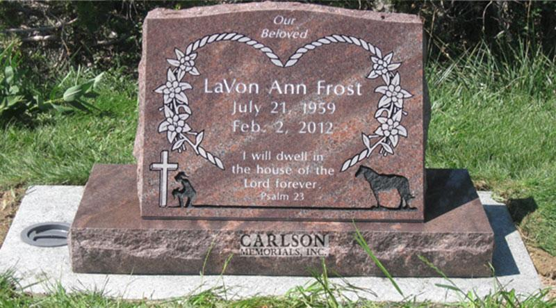 S001: Autumn Brown Slant Custom Designed Headstone for the Frost Family