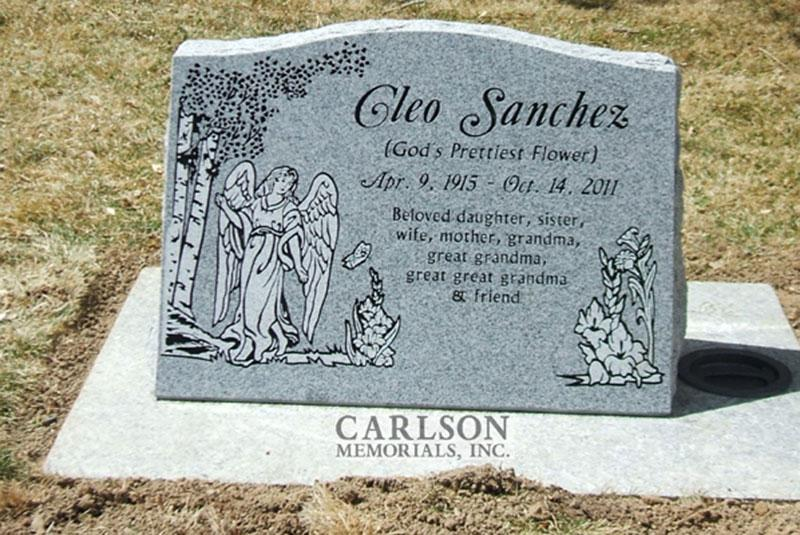 S004: Bluestone Custom Designed Slant Headstone for the Sanchez Family