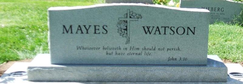 S005A: Back of Bluestone Custom Designed Headstone for the Mayes Family
