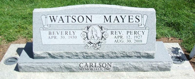 S005: Bluestone Custom Designed Slant Headstone for the Mayes Family