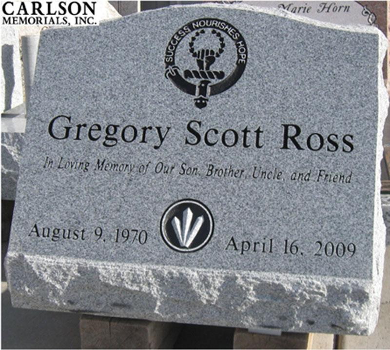 S006: Bluestone Custom Designed Slant Headstone for the Ross Family