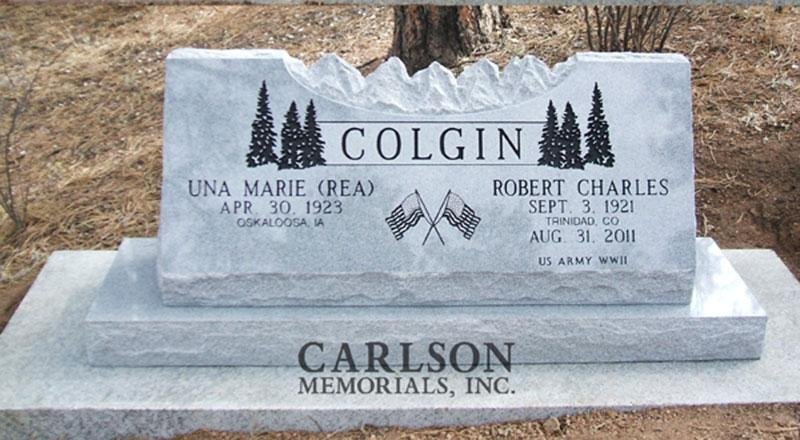 S007: Bluestone Custom Designed Slant Headstone for the Colgin Family