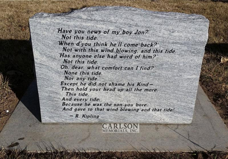 S008AL: Back of Silver Cloud Honed Finish Custom Designed Slant Headstone for the David Family