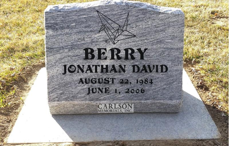 S008: Silver Cloud Honed Finish Custom Designed Slant Headstone for the David Family