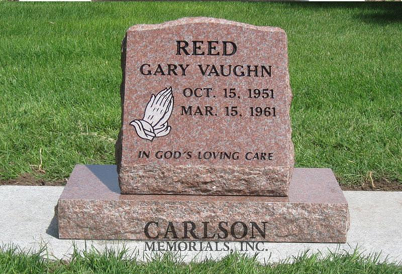 S010: Colorado Rose Red Custom Designed Slant Headstone for the Reed Family