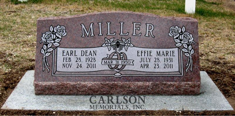 S011: Colorado Rose Red Custom Designed Slant Headstone for the Miller Family