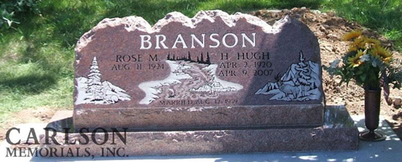 S012: Colorado Rose Red Custom Designed Slant Headstone for the Branson Family