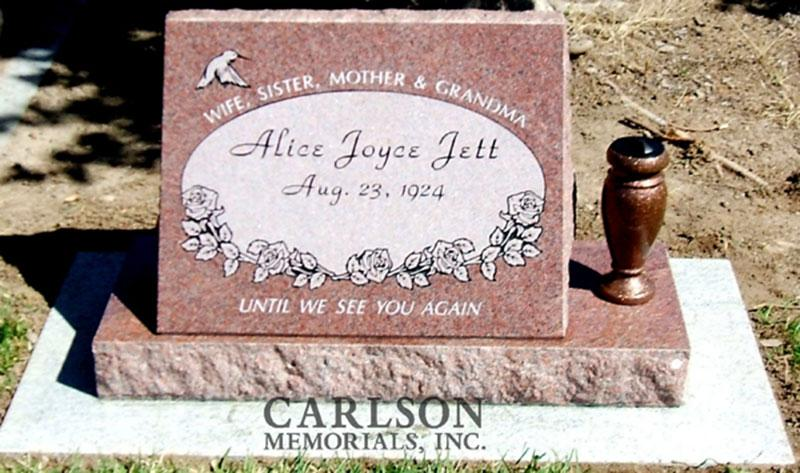 S013: Colorado Rose Red Custom Designed Slant Headstone for the Jett Family