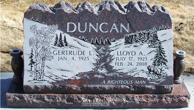 S016: Mahogany Custom Designed Slant Headstone with Mountain Carvings for the Duncan Family