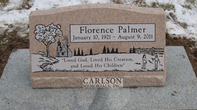 S017: Salisbury Pink Polish Custom Designed Slant Headstone for the Palmer Family