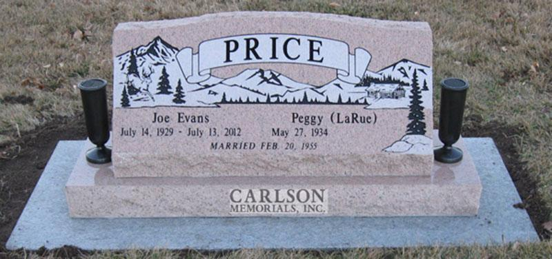 S018: Salisbury Pink Custom Designed Slant Headstone for the Price Family