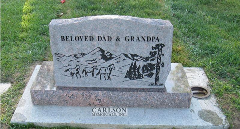 S019A: Back of American Bouquet Custom Designed Slant Headstone for the Haller Family